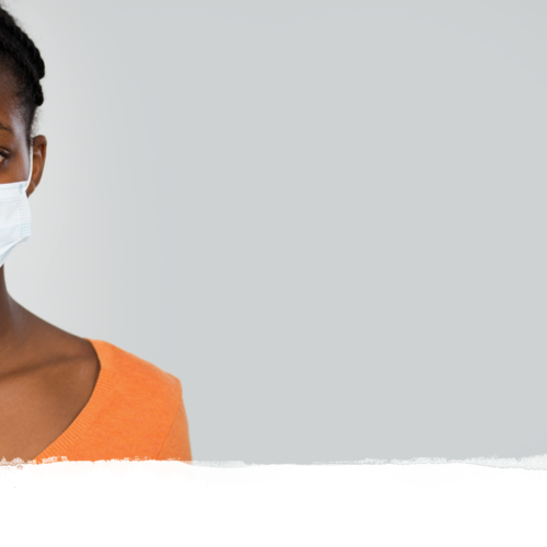 African American woman with white medical mask